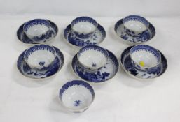 """Seven late 18th century blue and white tea bowls and six matching saucers, """"Nankin Willow"""""""