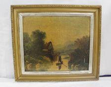 Victorian School.River scene.Oil on canvas. 49cm x 59cm.