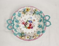 Early 19th century Coalbrookdale style English porcelain floral encrusted sweetmeat basket with
