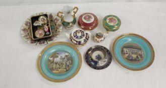 Pair of Pratt pictorial side plates, 19cm dia.; a Derby Imari miniature teapot and milk jug, small