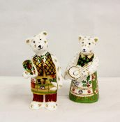 Two Royal Crown Derby figures, Christmas Cook Bear and another (no stopper) 9 and 9.5 cm