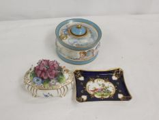 Limoges porcelain ink well decorated with putti, small pin tray and a floral encrusted trinket