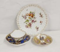Helena Wolfsohn Dresden porcelain cabinet cup and saucer, another and a spiral fluted plate (4)
