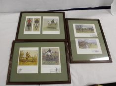 Six modern colour prints after Snaffles framed as three. Frame size 35cm x 45cm