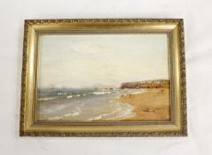 Late 19th / early 20th Century School.Beach Scene.Oil on board. 16cm x 24cm. and another coastal