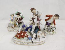Three Sitzendorf porcelain figures and another (4)