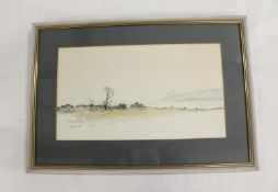 Andrew J Sharp.View of Arran.Signed and inscribed and dated 1968, watercolour, 20.5cm x 36cm.