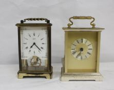 Schatz German 8 day carriage style mantel clock and another (2)