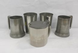 Two pewter beakers, two pewter mugs and a half litre stoneware mug with pewter cover (5)