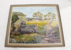 J Appleby.Dukesfield Farm, Northumberland.Oil on canvas, 45 x 55cm. Signed.