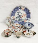 Japanese lobed dish, Japanese vase and further items of oriental wares