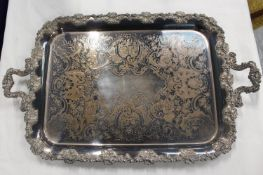 Large e.p. on copper twin handled tray. 68cm wide