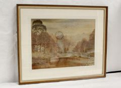 Early 20th Century School.Country House with a lake.Watercolour. Signed with monogram & dated