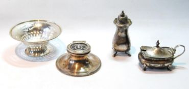 Silver capstan inkwell with inlaid tortoiseshell lid, Birmingham 1910, two condiments, and a pierced