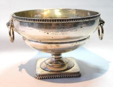 Silver circular bowl with lion's mask and ring handles, on square foot, Sheffield 1912, 16oz.