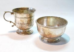 Silver hemispherical bowl, and a cup, by R. Comyns, 1959/61, 8oz.