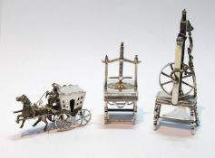 Dutch 19th century toy press, another, a spinning wheel, and a toy carriage.  (3)