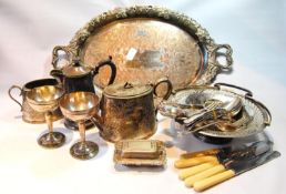 EP oval tray on copper, a teapot, and sugar bowl, a pierced tazza, two cups, and other EP ware.