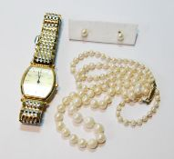 Lady's Longines bracelet watch, 'Grand Classique', in rolled gold and steel, also a pearl necklet,