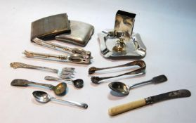 Silver ashtray and vesta holder, by R. Comyns, 1929, two cigarette cases, and various spoons, EP,