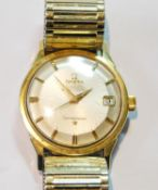 Gent's Omega Constellation rolled gold watch with 'pie pan' dial and calendar, on expanding