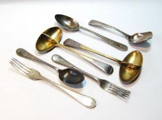 Pair of soup spoons with pierced dividers, by George Adams, 1868, a preserve spoon, and four similar