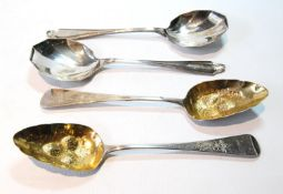 Pair of silver berry spoons (1812), and a pair of salad servers, 8oz.  (4)