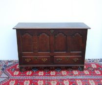 19th century oak coffer with moulded rectangular top over arched panels, two short drawers, raised