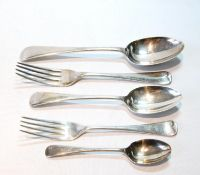 Part table service of Old English pattern comprising six tablespoons and forks, twelve dessert