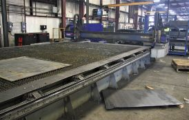 "2015 MESSER MDL. MMEXCEL HI-DEF CNC PLASMA CUTTING TABLE, [2] HEADS, 140"" X 324"" OVERALL TABLE SIZE,"