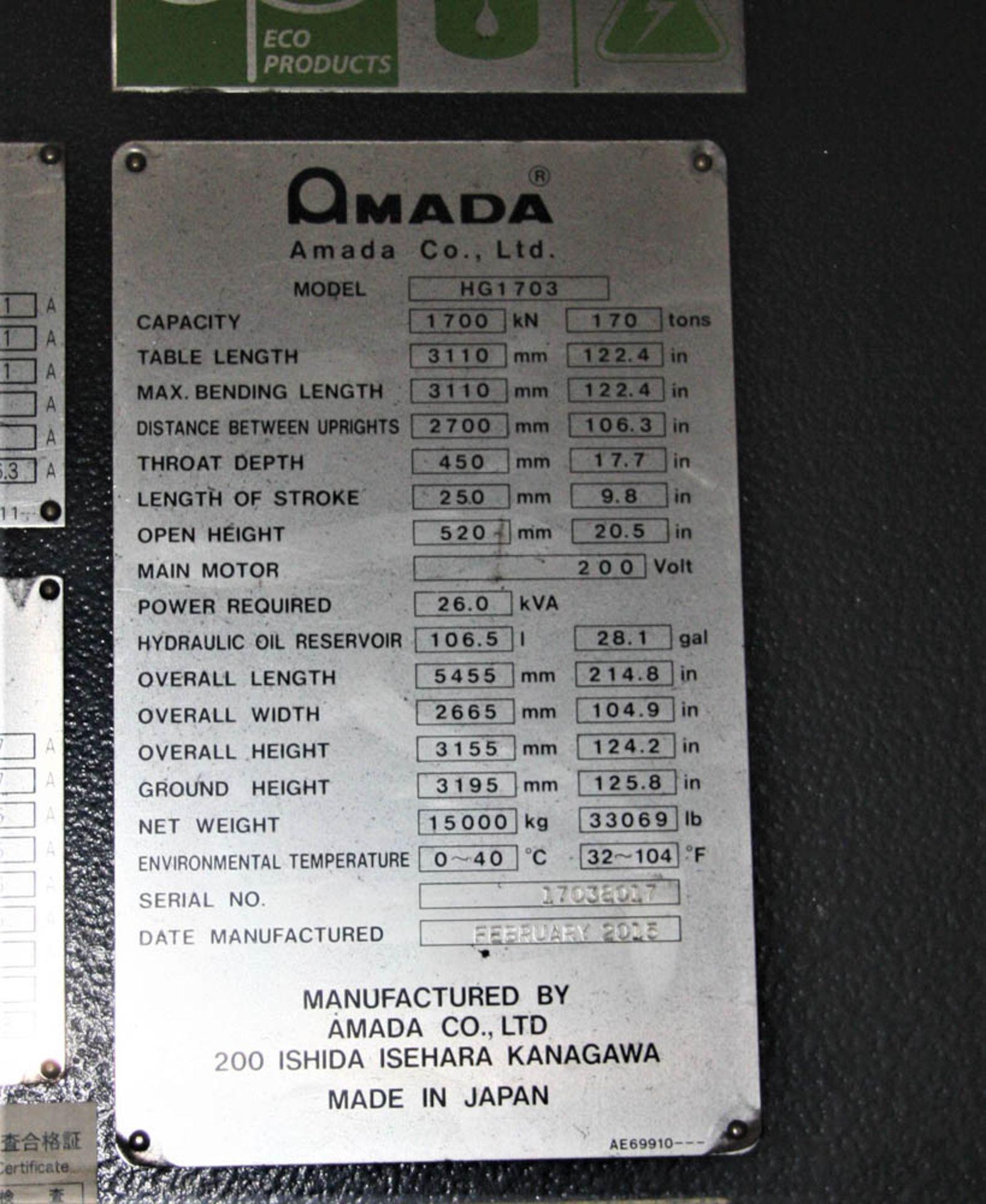 "2015 187 US TON X 122"" AMADA MDL. HG1703 CNC PRESS BRAKE, AMNC 3i CONTROL, 122"" MAX BEND LENGTH - Image 8 of 14"