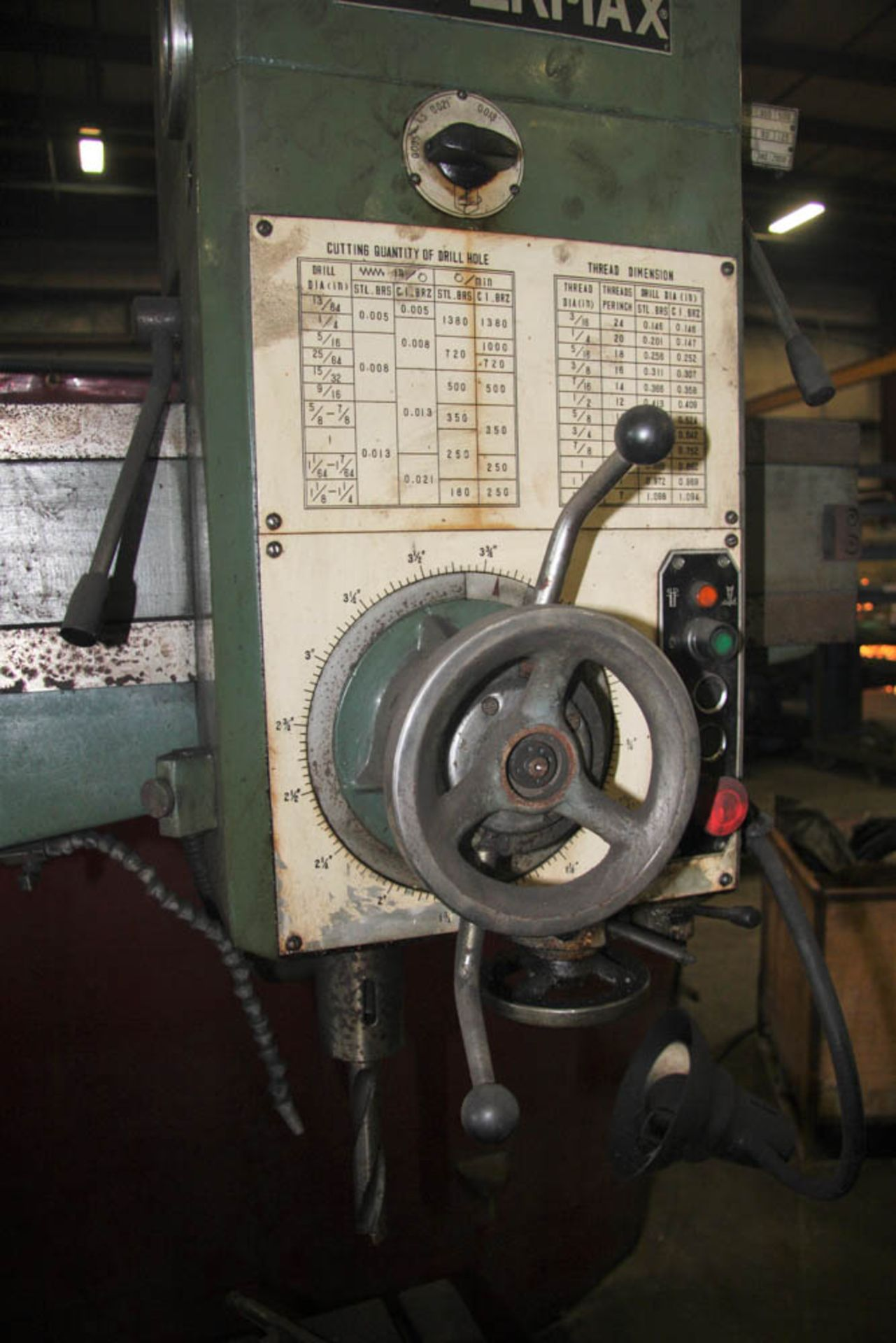 """SUPERMAX MDL. HRD-1000 3' X 9' RADIAL ARM DRILL, POWER ELEVATION, COOLANT, 17"""" X 18"""" X 18"""" T-SLOTTED - Image 3 of 11"""