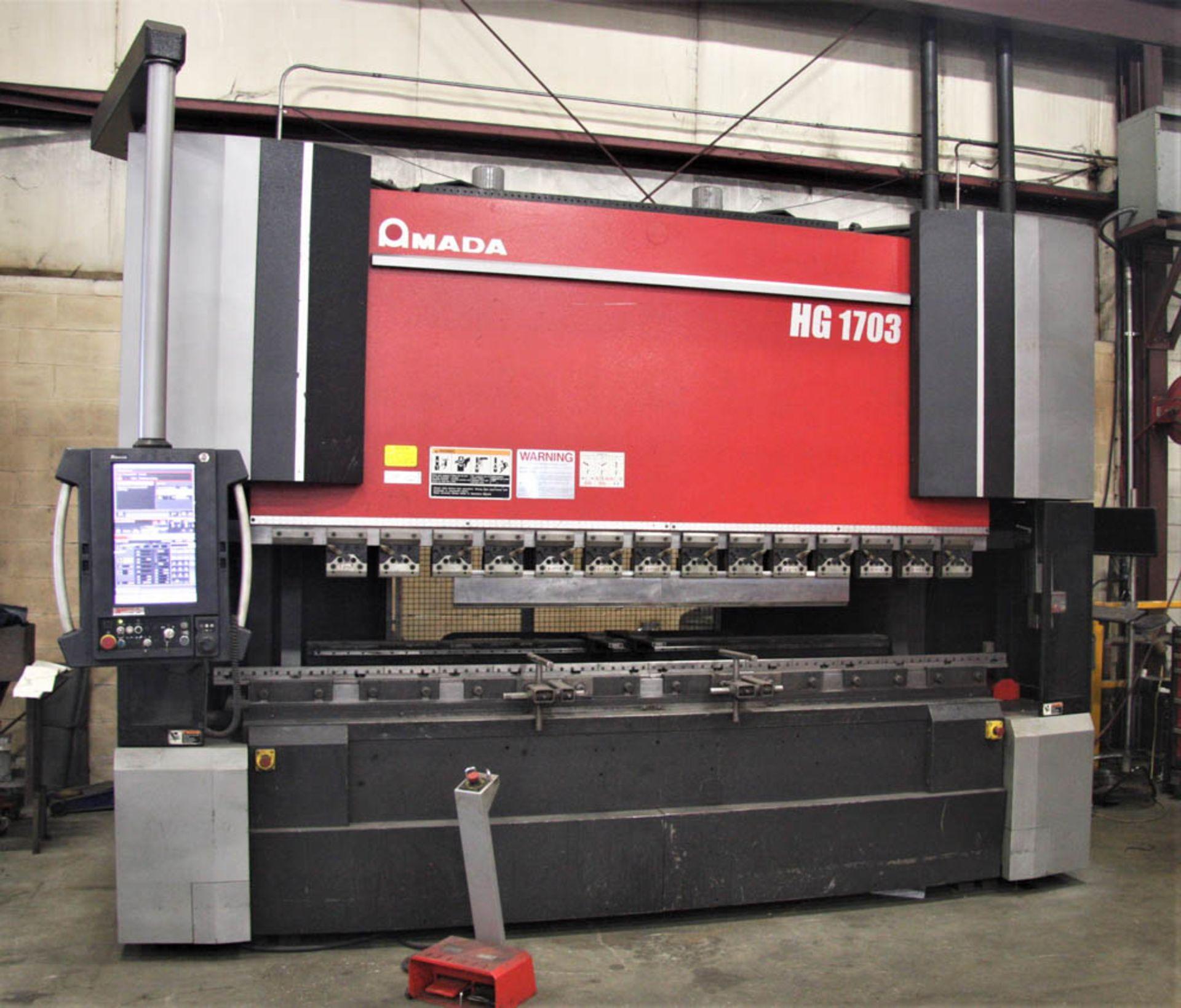 "2015 187 US TON X 122"" AMADA MDL. HG1703 CNC PRESS BRAKE, AMNC 3i CONTROL, 122"" MAX BEND LENGTH"