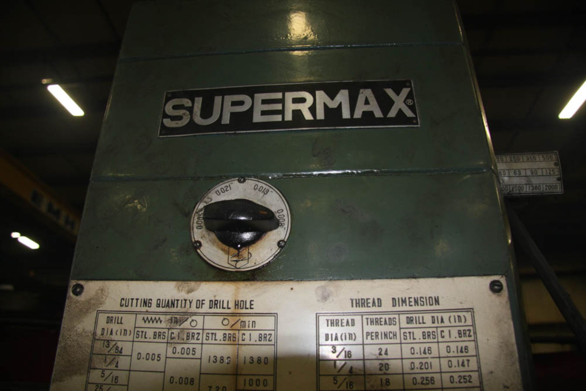 """SUPERMAX MDL. HRD-1000 3' X 9' RADIAL ARM DRILL, POWER ELEVATION, COOLANT, 17"""" X 18"""" X 18"""" T-SLOTTED - Image 7 of 11"""