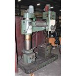 "SUPERMAX MDL. HRD-1000 3' X 9' RADIAL ARM DRILL, POWER ELEVATION, COOLANT, 17"" X 18"" X 18"" T-SLOTTED"