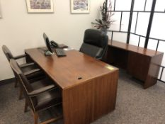 WOOD EXECUTIVE DESK, CREDENSA AND 3- CHAIRS [WALTON HILLS, OH]