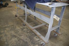 "8' X 30"" STEEL ROLLING TABLE (NO CONTENTS)"