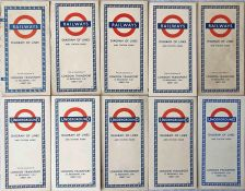 Selection (10) of 1953-59 London Underground diagrammatic, card POCKET MAPS, all Beck issues and