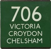 London Transport coach stop enamel E-PLATE for Green Line route 706 destinated Victoria, Croydon,