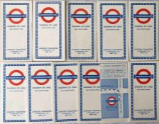 Selection (10) of 1959-65 London Underground diagrammatic, card POCKET MAPS comprising Beck issues