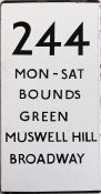London Transport bus stop enamel E-PLATE for route 244. A double-vertical example that is destinated