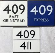 Selection (3) of London Transport/London Country bus stop enamel E-PLATES comprising 409