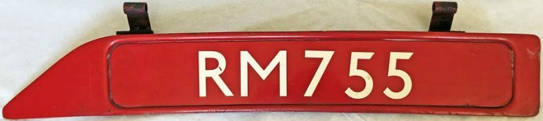 London Transport Routemaster bonnet FLEETNUMBER PLATE from RM 755. The original RM 755 entered