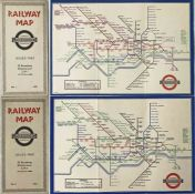 Pair of London Underground diagrammatic, card POCKET MAPS by H C Beck and comprising issues No 1