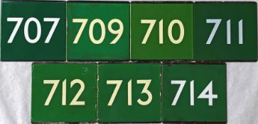 Selection (7) of London Transport coach stop enamel E-PLATES for Green Line routes 707, 709, 710,