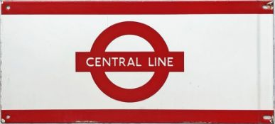 1960s/70s London Underground enamel PLATFORM FRIEZE PLATE for the Central Line with the line name on