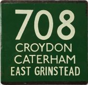 London Transport coach stop enamel E-PLATE for Green Line route 708 destinated Croydon, Caterham,