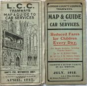 Pair of LCC Tramways POCKET MAPS comprising issues dated April 1915 and July 1915. The first is in