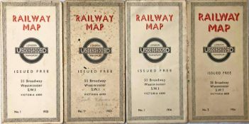 Selection (4) of London Underground diagrammatic, card POCKET MAPS by H C Beck and comprising
