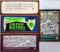 Selection (4) of London Underground CARD PANELS comprising c1930s 'Lost Property' (Metropolitan